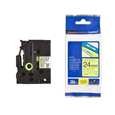 Brother TZEC51 TZe-C51 24mm Labelling Tape (BLACK ON FLUORESCENT YELLOW)