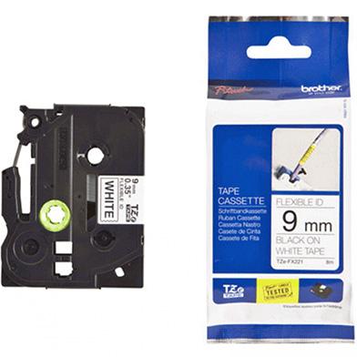 Brother TZEFX221 TZe-FX221 9mm Flexible Labelling Tape (BLACK ON WHITE)