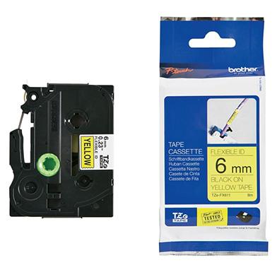 Brother TZEFX611 TZe-FX611 6mm Flexible Labelling Tape (BLACK ON YELLOW)