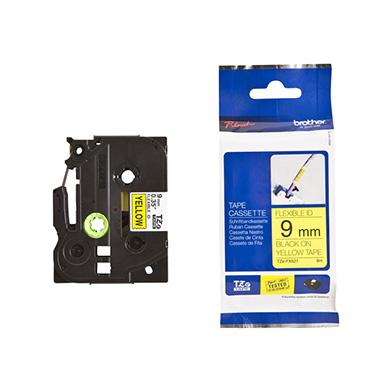 Brother TZEFX621 TZe-FX621 9mm Flexible Labelling Tape (BLACK ON YELLOW)