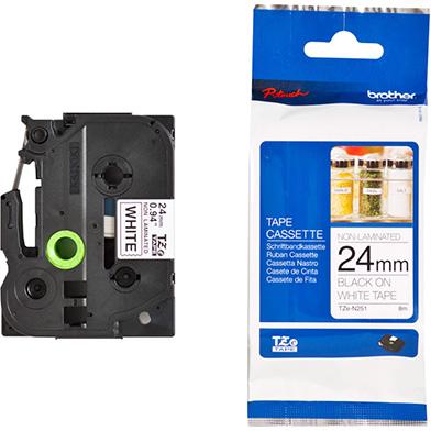 Brother TZEN251 TZe-N251 24mm Labelling Tape (BLACK ON WHITE)