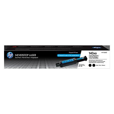HP W1143AD 143AD Dual Pack Black Original Neverstop Laser Toner Reload Kit (2500 Pages)