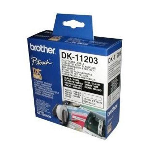 Brother DK11203 DK-11203 17mm x 87mm Label Roll (BLACK ON WHITE)