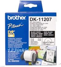 Brother DK-11207 58mm CD/DVD Film Label Roll (BLACK ON WHITE)