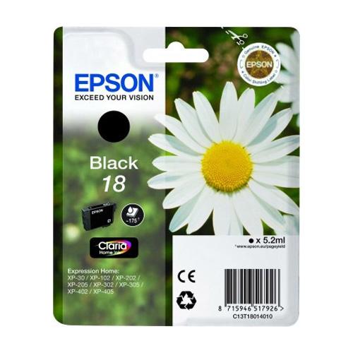 Epson C13T18014012 Black No.18 Ink Cartridge (175 Pages)