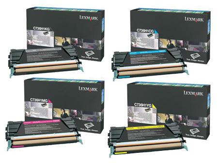 Lexmark  C736H1 Hi-Cap Toner Rainbow Pack CMY (10K) + Black (12K)