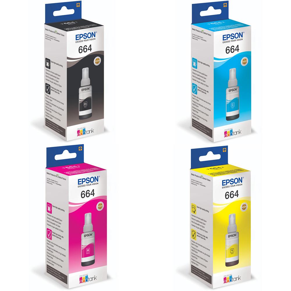 Genuine Epson Ink Bottle Value Pack K (4,000 Pages) CMY (6,500 Pages) for  Epson EcoTank 14000, EcoTank 2500, EcoTank 2550, EcoTank 4500, EcoTank