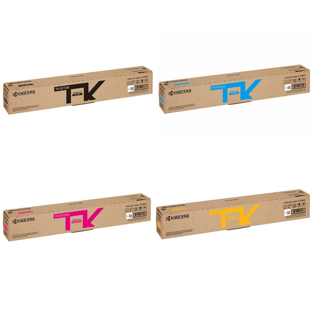 Genuine Kyocera TK-8115 Toner Bundle Pack K (12K Pages) CMY (6K Pages) for  Kyocera ECOSYS M8124cidn, ECOSYS M8130cidn Printers