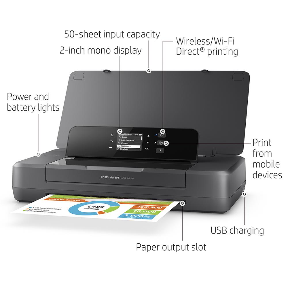 HP OfficeJet 200 A4 Colour Mobile Inkjet Printer