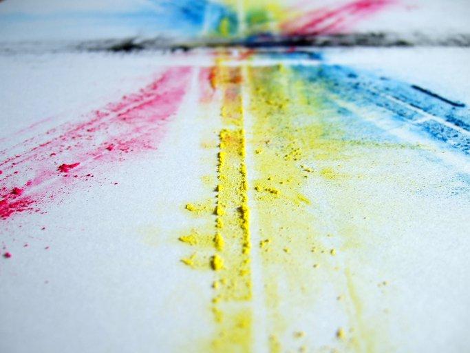 Coloured powder on white paper