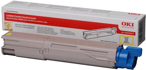 OKI 43459433 Standard Yellow Toner Cartridge(1,500 pages)