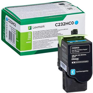 Lexmark C232HC0 Cyan High Yield Return Programme Toner Cartridge (2,300 Pages)