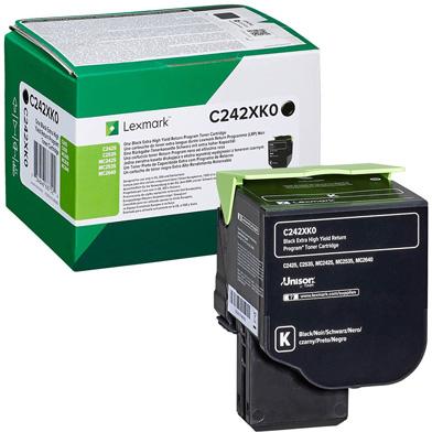 Lexmark C242XK0 Black Extra High Yield Return Program Toner Cartridge (6,000 Pages)