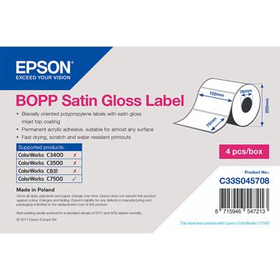 ColourWorks C7500 BOPP Satin Gloss Die-cut Label Roll (102mm x 76mm, 1890 Labels)