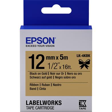 Epson LK-4KBK Satin Ribbon Label Cartridge (Black/Gold) (12mm x 5m)
