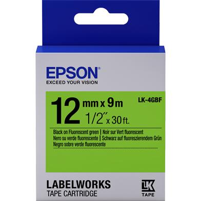 Epson LK-4GBF Fluorescent Label Cartridge (Black/Green) (12mm x 9m)