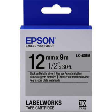 Epson LK-4SBM Metallic Label Cartridge (Black/Silver) (12mm x 9m)