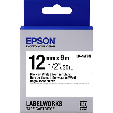Epson LK-4WBN Standard Label Cartridge (Black/White) (12mm x 9m)