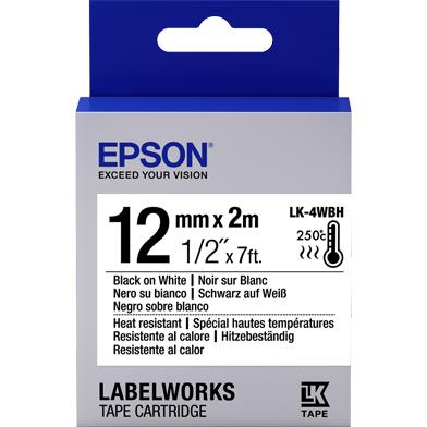Epson LK-4WBH Heat Resistant Label Cartridge (Black/White) (12mm x 2m)