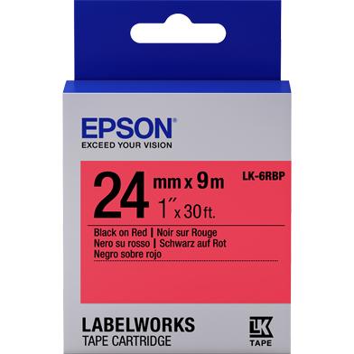 Epson LK-6RBP Pastel Label Cartridge (Black/Red) (24mm x 9m)