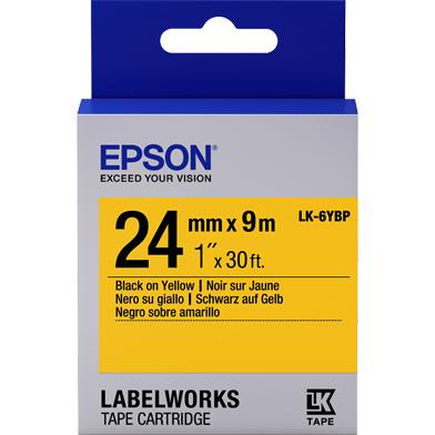 Epson LK-6YBP Pastel Label Cartridge (Black/Yellow) (24mm x 9m)
