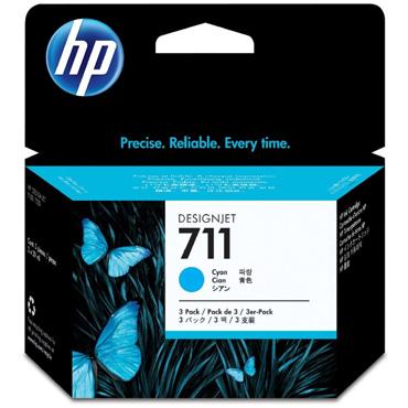 HP 711 Cyan Ink Cartridge (29ml) 3 Pack