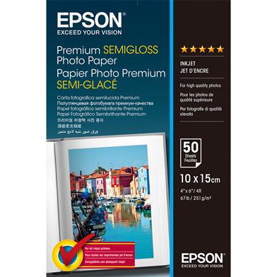 Epson Premium Semi-Gloss Photo Paper - 251gsm (10 x 15cm / 50 Sheets)