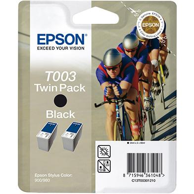 Epson Black T003 Ink Cartridge Twin Pack (2 x 34ml)