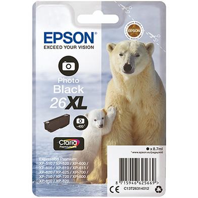 Epson C13T26314012 26XL Photo Black Ink Cartridge (400 Pages)