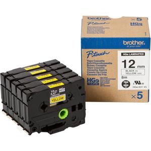 HGE-631V5 BLACK ON YELLOW 5 PK 12MM HIGH GRADE Tape (PT9500PC/PT9700PC/PT9800PCN ONLY)