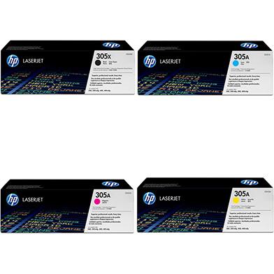 HP HPM300TONERPK 305X/305A Toner Value Pack 4k Black, 2.6k CMY