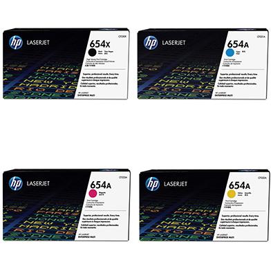 HP HPM651TONERPKHI 654X/654A Hi-Cap Toner Rainbow Pack CMY(15k) K(20.5k)