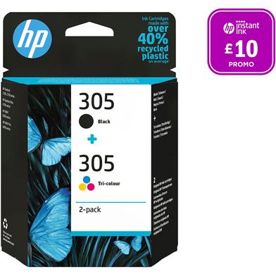 HP 305 2-Pack Black/Tri-Colour Ink Cartridges CMY (100 Pages) K (120 Pages)
