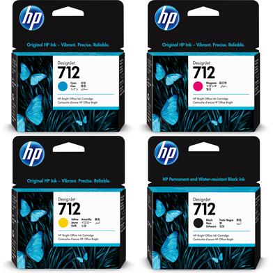 HP 712 DesignJet Ink Cartridge Value Pack CMY (29ml) K (80ml)