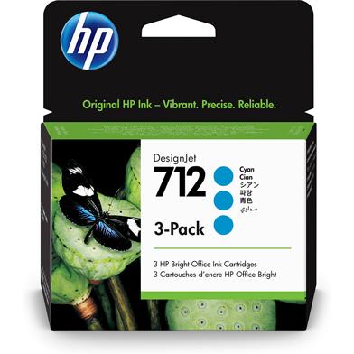 HP 712 3-Pack Cyan DesignJet Ink Cartridges (29ml)