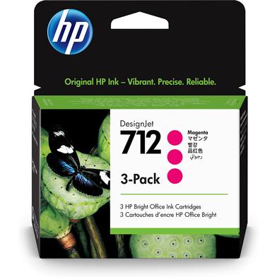 HP 712 3-Pack Magenta DesignJet Ink Cartridges (29ml)
