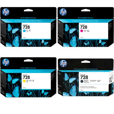 HP 728 High Capacity Ink Multipack CMYK (130ml)