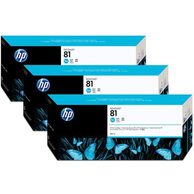 HP 81 3-Pack Cyan Dye Ink Cartridges (680ml)