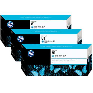 HP 81 3-Pack Light Cyan Dye Ink Cartridges (680ml)