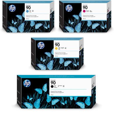 HP 90 High Capacity Ink Cartridge Bundle Pack CMY (400ml) K (775ml)