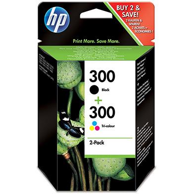 HP No.300 Black/Tri-Colour Ink Cartridges (200 Pages K, 165 Pages CMY)