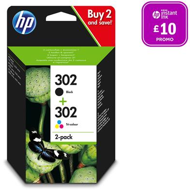 HP 302 2-pack Black/Tri-Colour Original Ink Cartridges