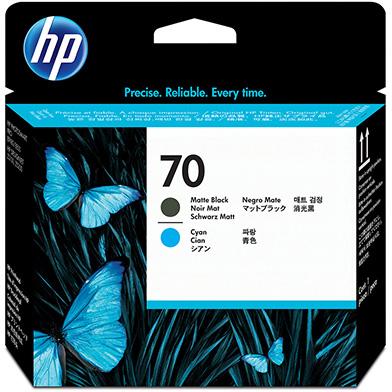HP No.70 Matte Black and Cyan Printhead