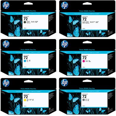 HP No.72 Ink Cartridge Multipack (130ml x 6)