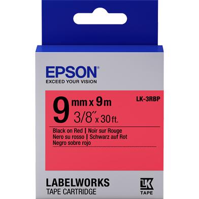 Epson LK-3RBP Pastel Label Cartridge (Black/Red) (9mm x 9m)
