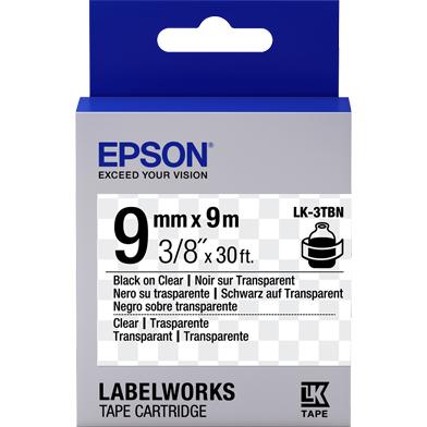 Epson LK-3TBN Transparent Label Cartridge (Black/Clear) (9mm x 9m)