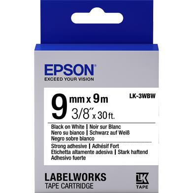 Epson LK-3WBW Strong Adhesive Label Cartridge (Black/White) (9mm x 9m)