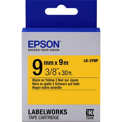 Epson LK-3YBP Pastel Label Cartridge (Black/Yellow) (9mm x 9m)