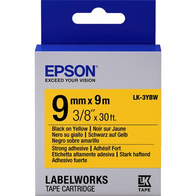 Epson LK-3YBW Strong Adhesive Label Cartridge (Black/Yellow) (9mm x 9m)
