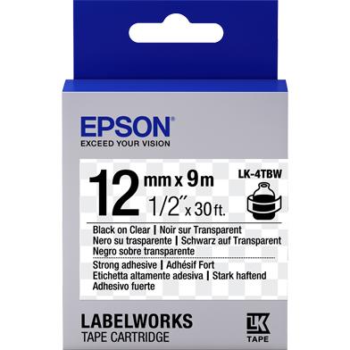 Epson LK-4TBW Strong Adhesive Label Cartridge (Black/Transparent) (12mm x 9m)